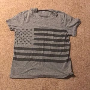 Grey Tee with American Flag Mens